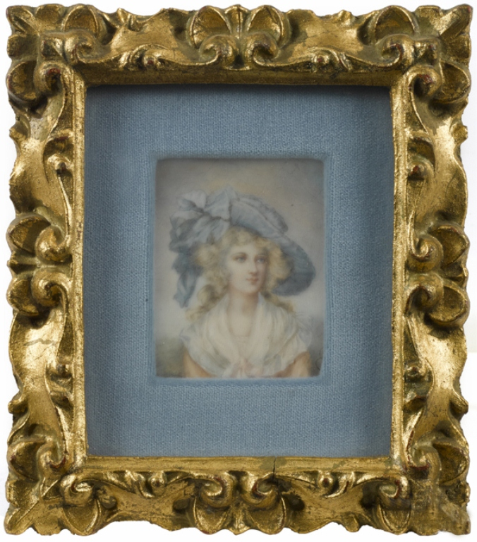19thc French Miniature Ivory Portrait