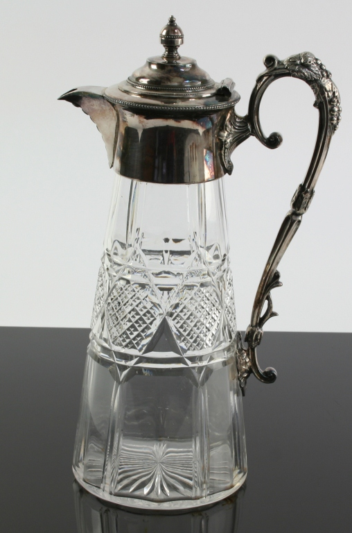 c1920 Cut Crystal Silver-Plate Grape Motif Pitcher