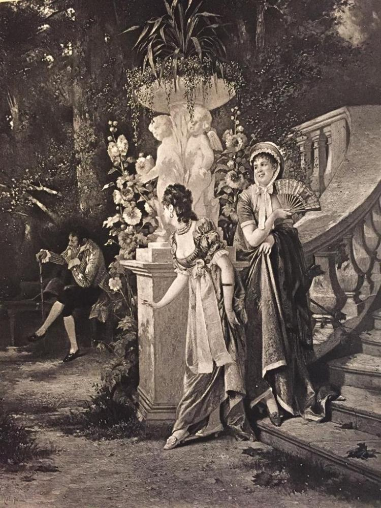 1880's Photogravure Print, Await Me Under The Elm