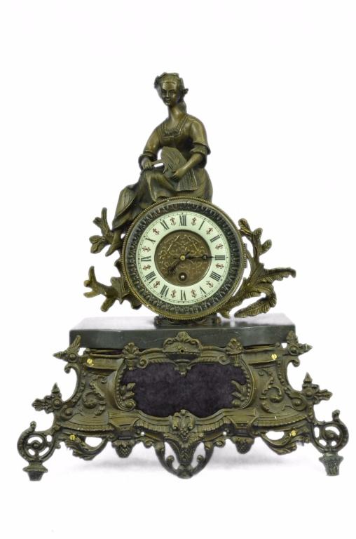 French Maiden Bronze Mantle Clock