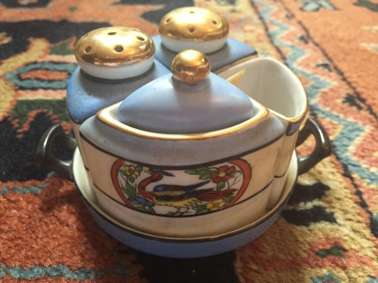 Early 1900's Noritake Chikaramachi Condiment Set
