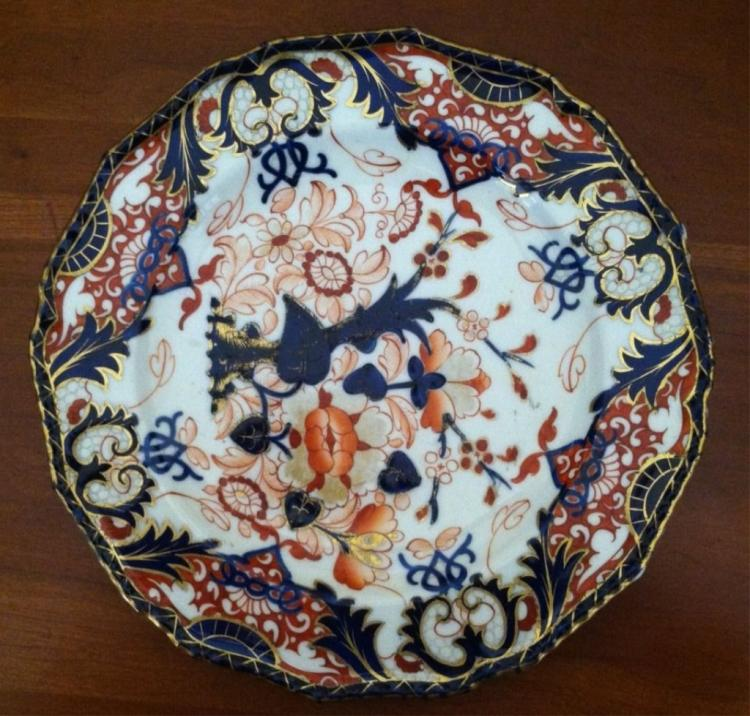 19thc Royal Crown Derby Imari Flow Blue Plate