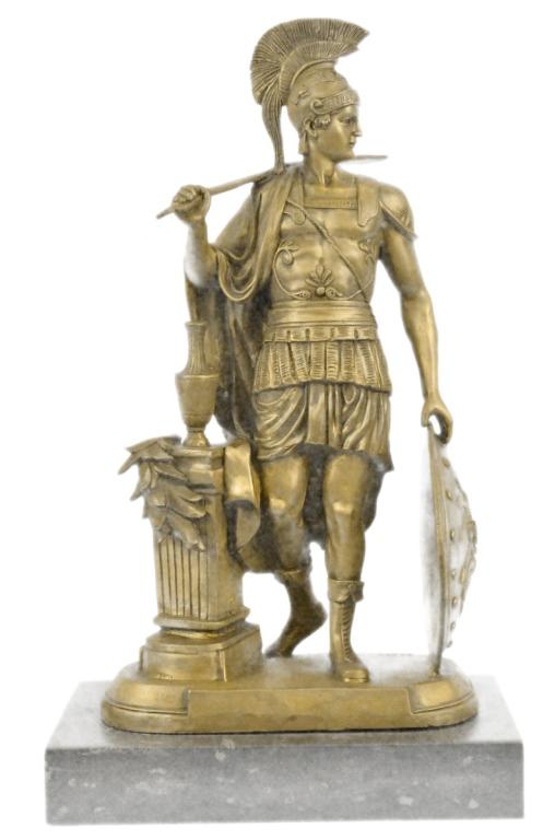 After Huzel, Greek Soldier Bronze Sculpture