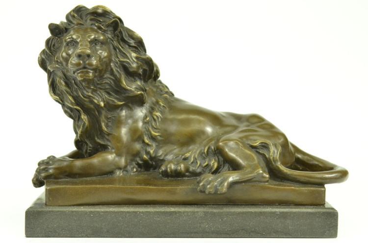 After Barye, Recumbent Lion Bronze Sculpture
