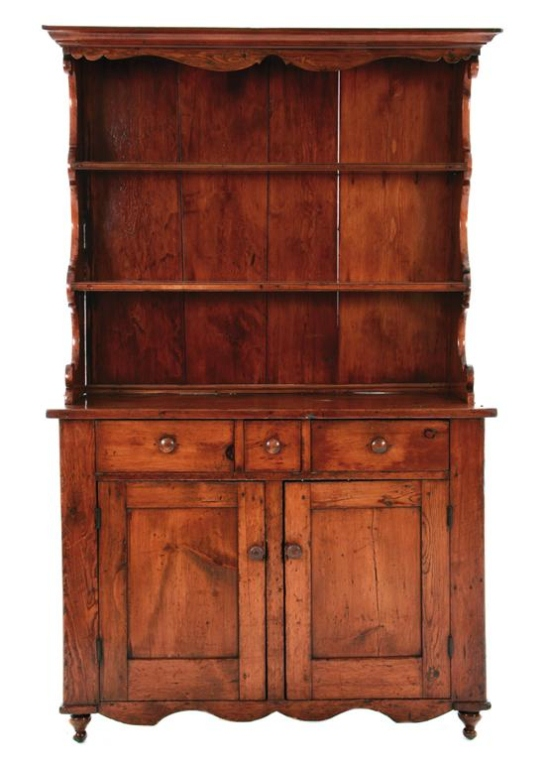 Early 19thc American Mixed Wood Stepback Cabinet