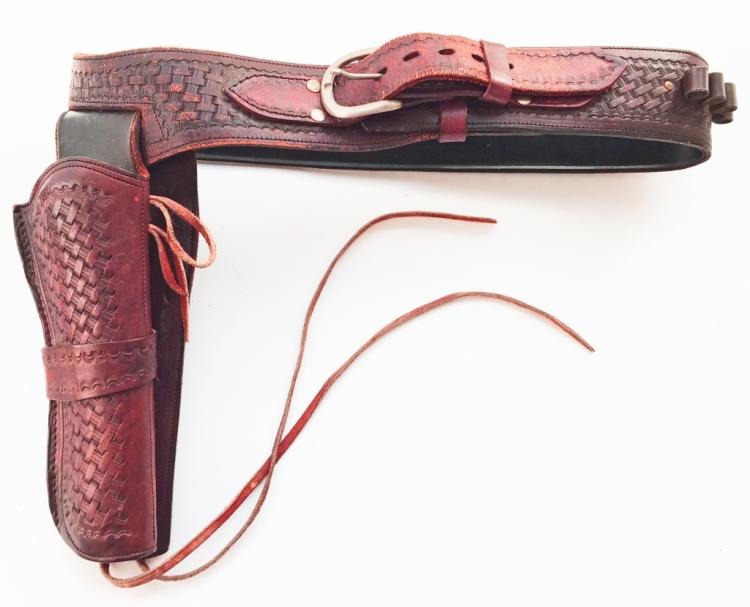 Western Brown Leather Tooled Holster