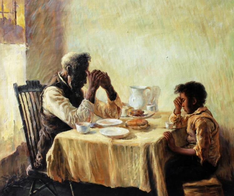 African American Father Child Painting