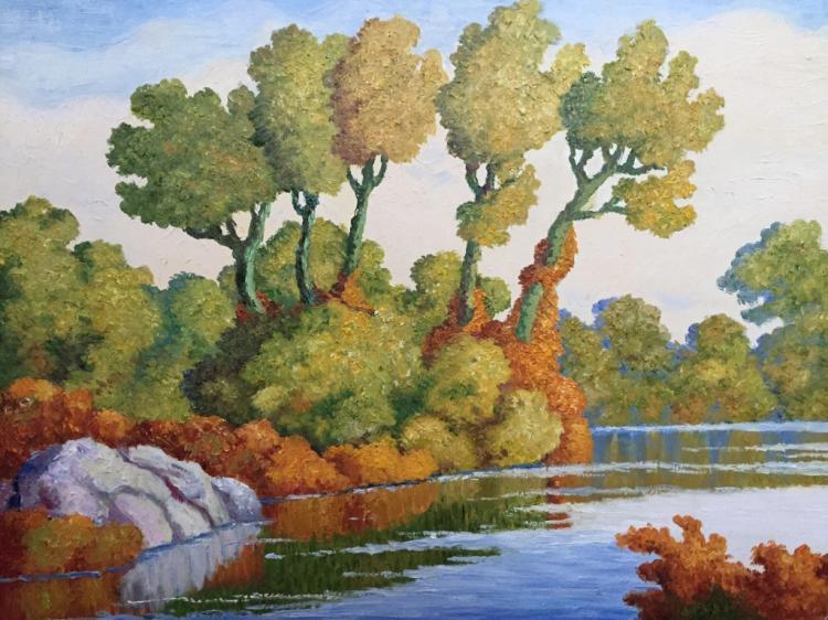 Impressionist School Oil Painting, River Landscape