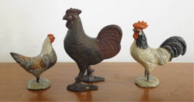 Rare Early 20thc Roosters & Chicken Collection