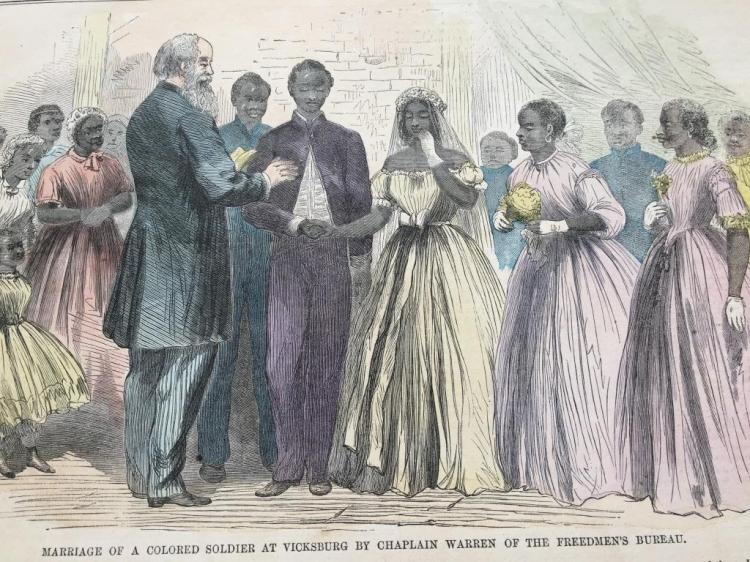 19thc Hand-colored Engraving, Colored Wedding