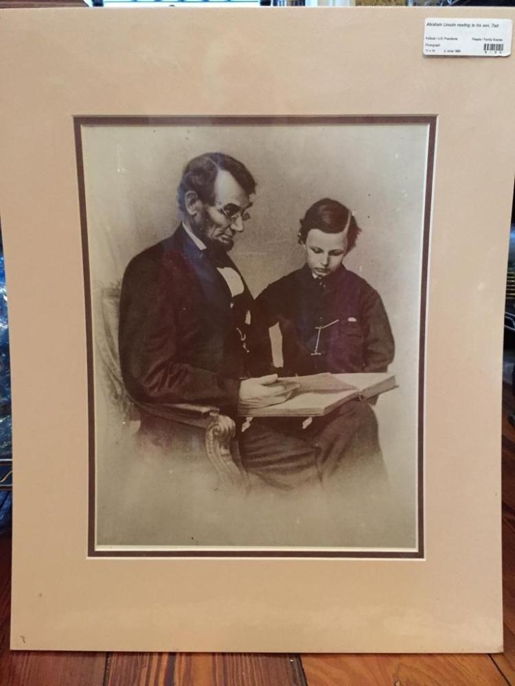 Abraham Lincoln & Son Sepia Photo Print