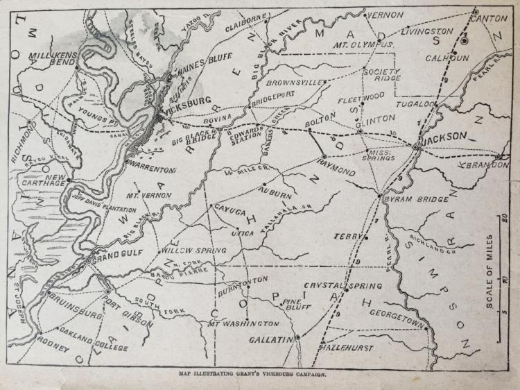 19thc Maps, Siege of Vicksburg & Grant's Campaign