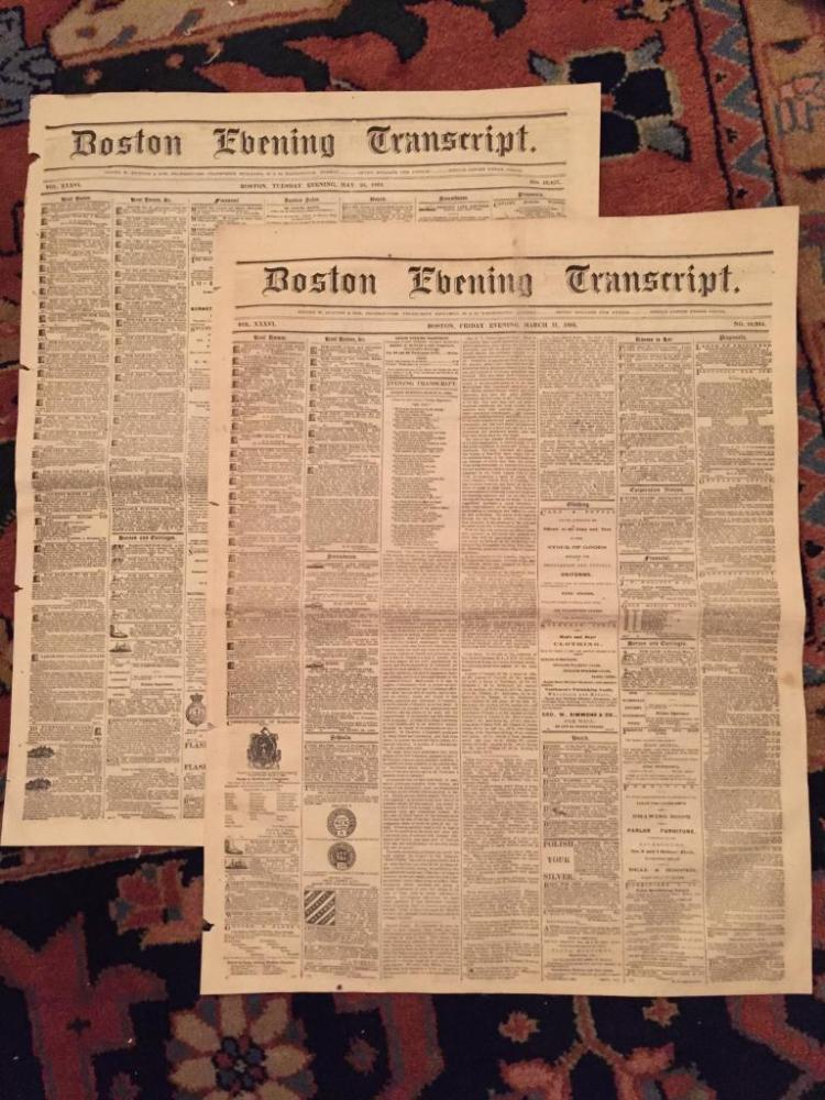1864 Civil War Boston Newspapers