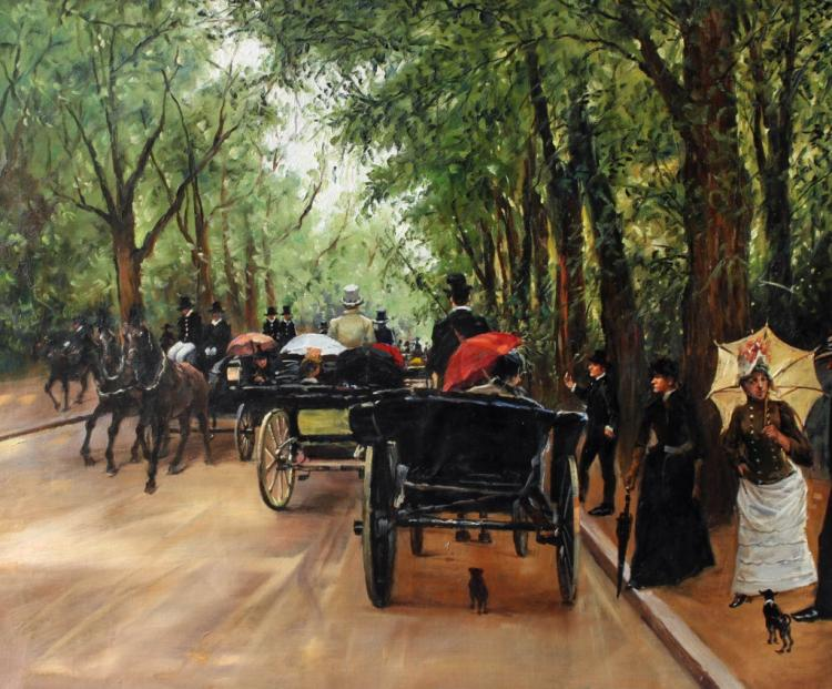 Victorian Impressionist Oil Painting, Carriages