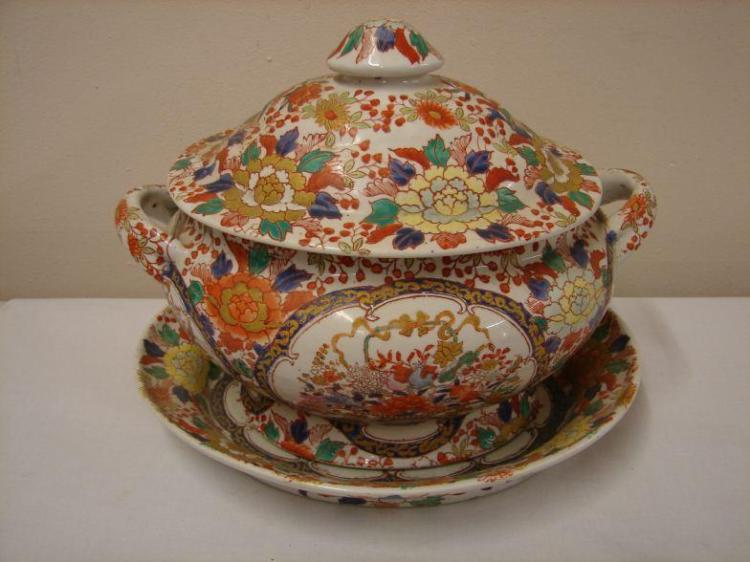 Antique Famille Rose Tureen Set