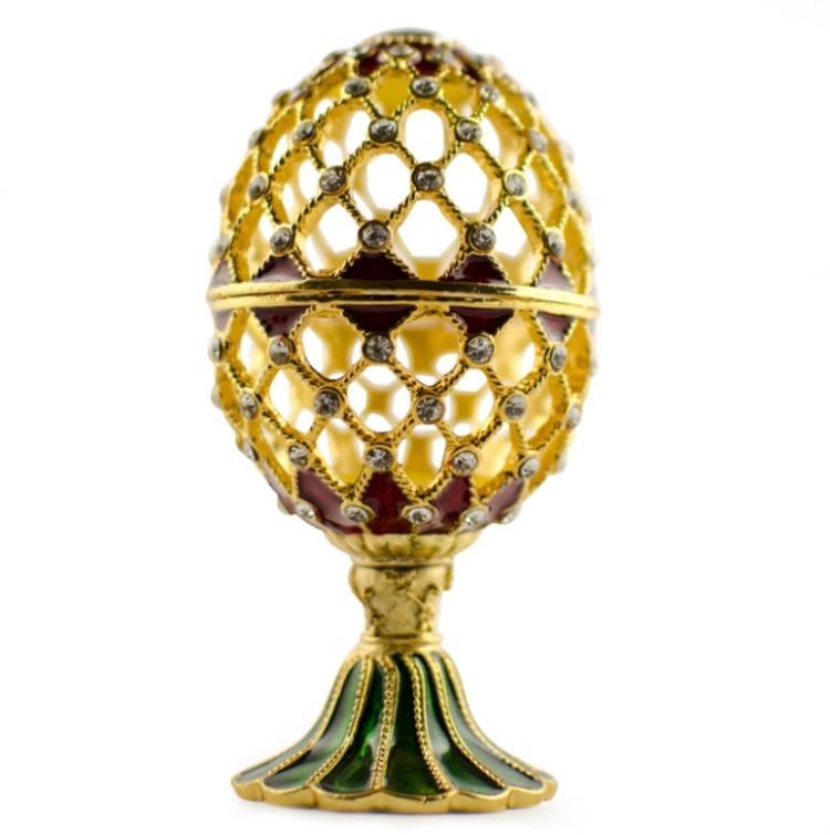 Faberge Inspired Golden Trellis Jewel Box Egg