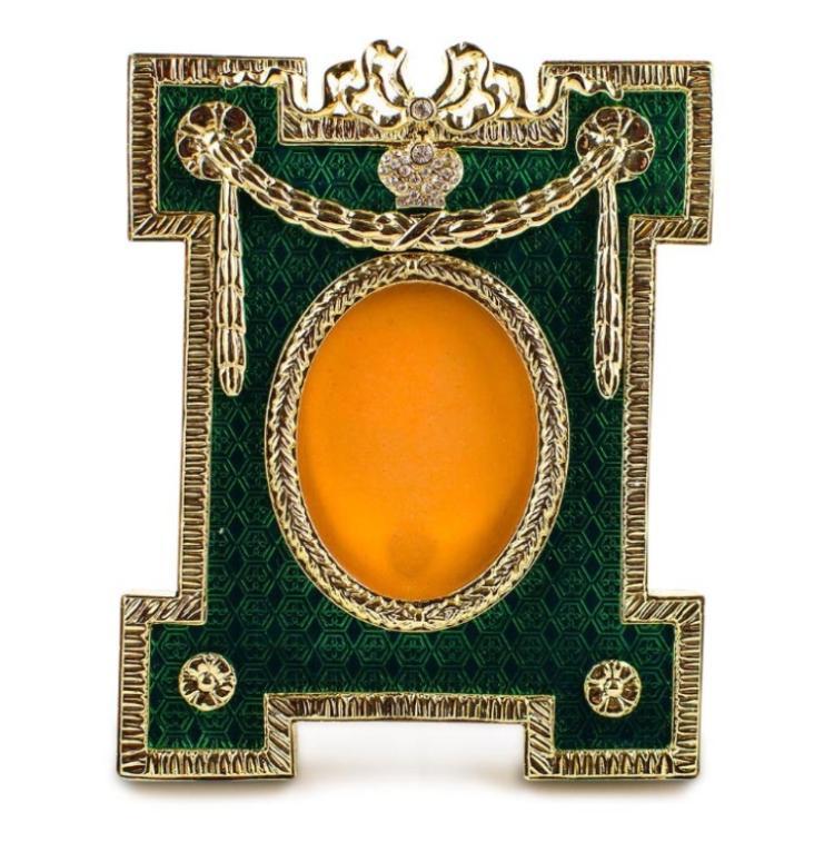 Green Enameled Guilloche Faberge Inspired Frame