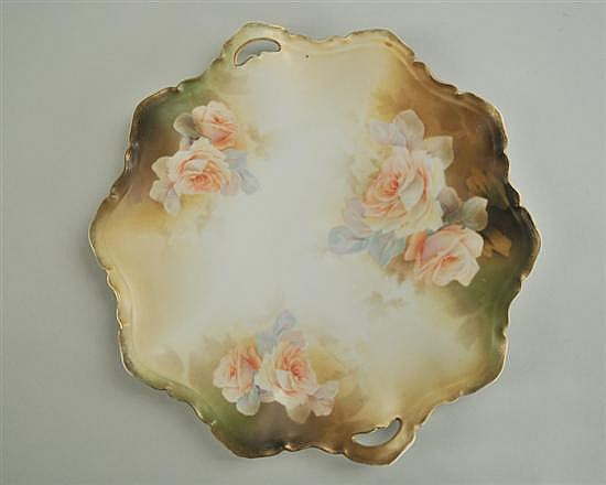 R.S. Prussia Porcelain Handled Cake Plate
