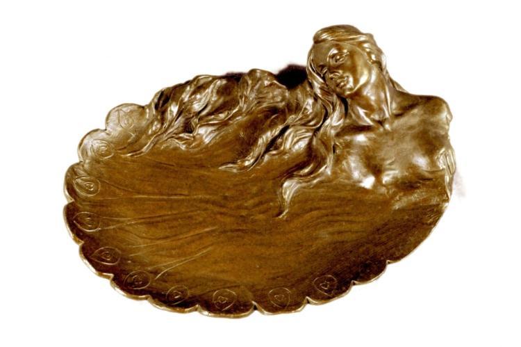 Art Nouveau Bronze Girl, Peacock Jewel Tray Dish
