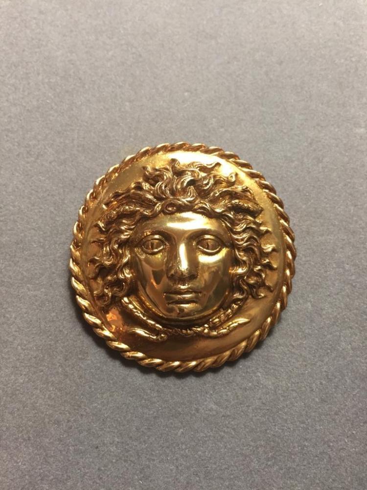 Vintage Museum Medusa Gold Brooch Pin