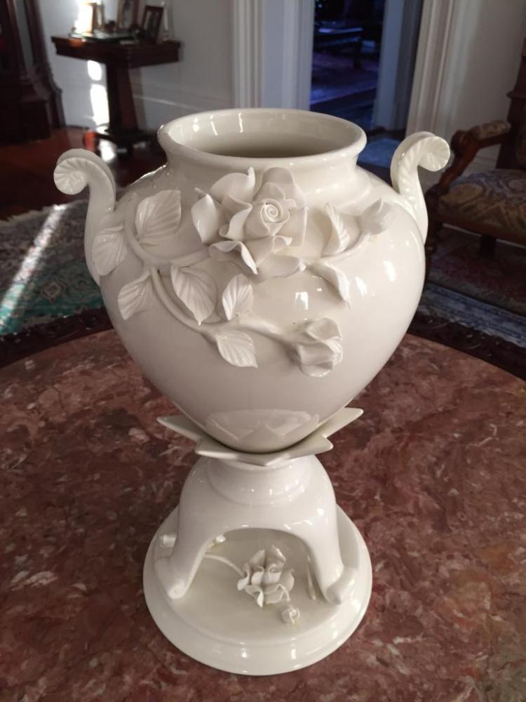 Floral Embellished Porcelain Urn