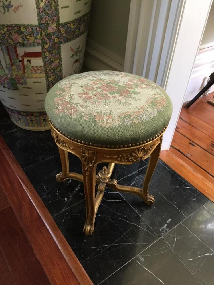 Early 20thc French Gilt Wood Piano Stool