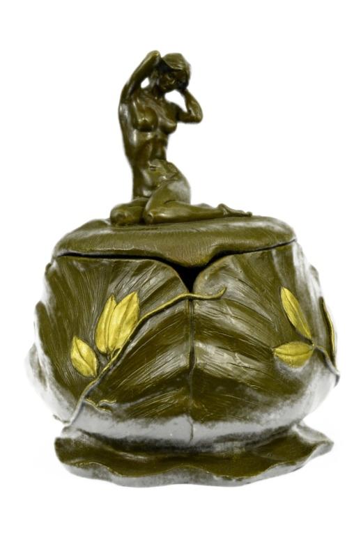 French Gilt Art Nouveau Nude Bronze Jewel Box