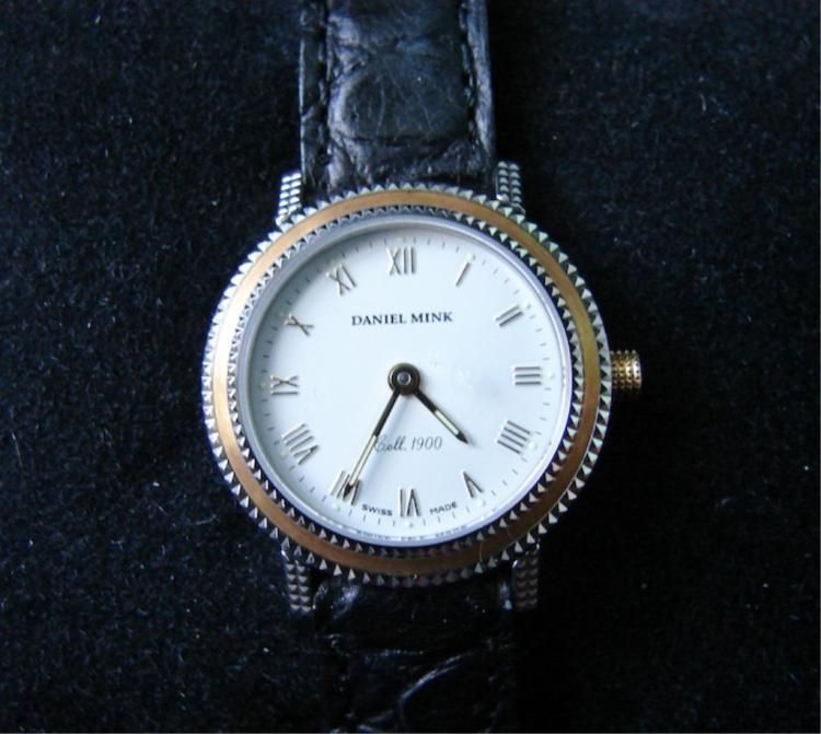 Ladies Daniel Mink Black Leather Wristwatch
