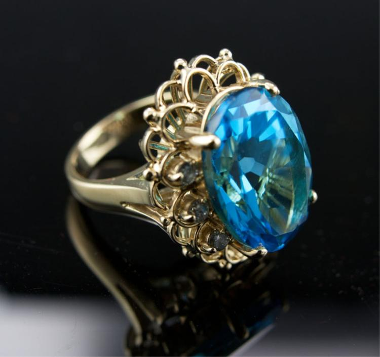 Blue Topaz & Diamond 14kt Gold Cocktail Ring