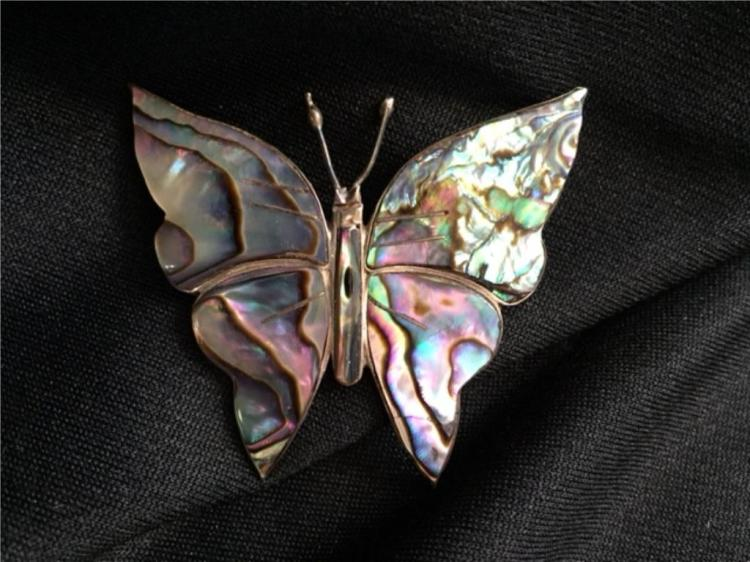 Vintage Sterling Abalone Butterfly Pin Brooch