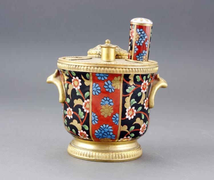 Antique French Continental Cloisonne Inkwell