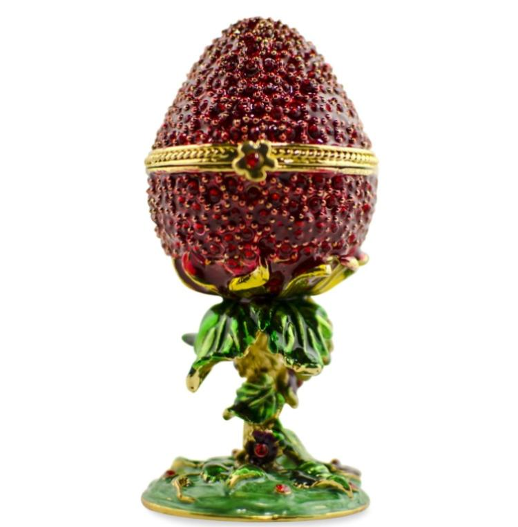 Faberge Inspired Strawberry Egg Trinket Jewel Box