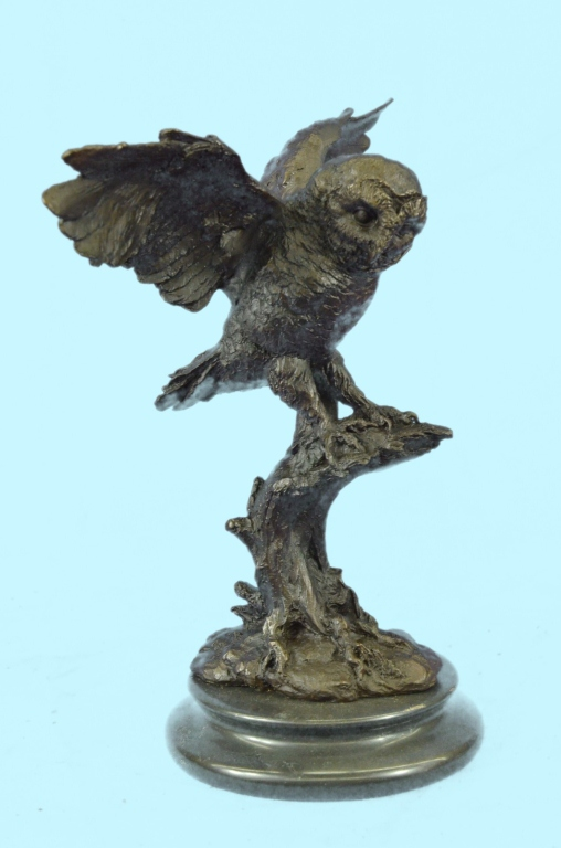 Signed Bronze Owl Sculpture, Night Patrol