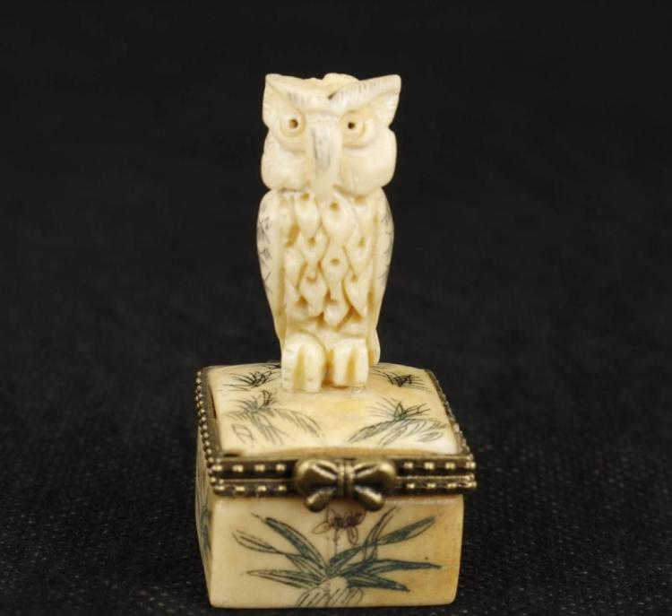 Hand Carved Ox Bone Owl Trinket Box