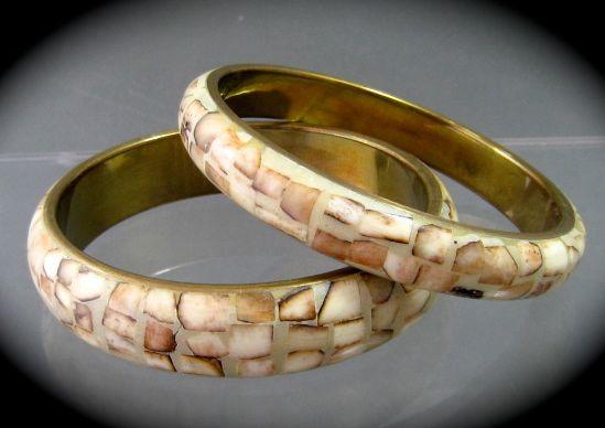 Pair of Vintage Brass & Inlaid Bone Bracelets