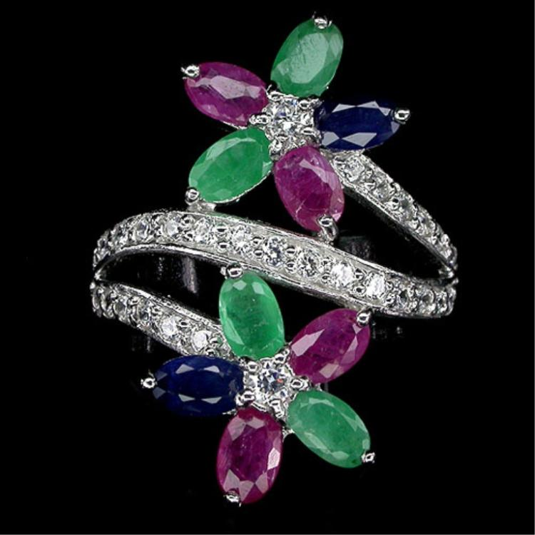 Emerald, Ruby, Sapphire Flower Ring