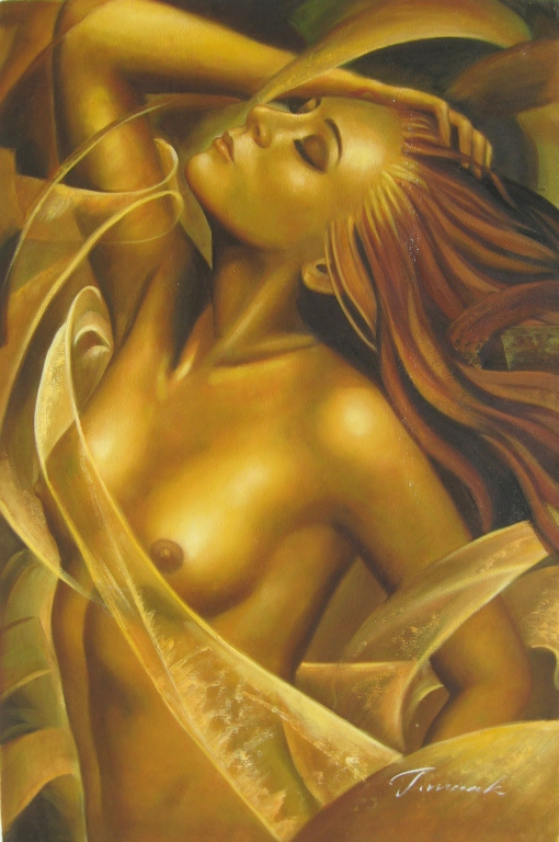 Signed Oil On Canvas Painting, Golden Nude