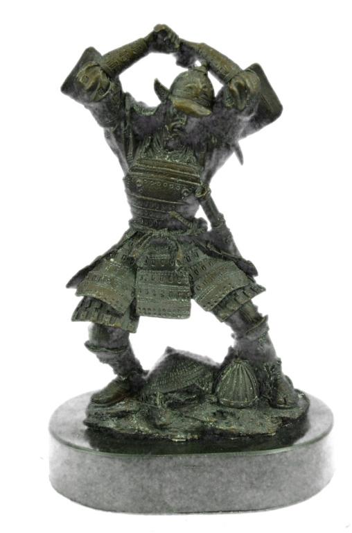 Rare Signed Samurai Warrior Bronze Sculpture