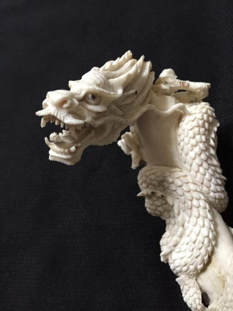 Carved Antler, Snarling Dragon Cane Handle