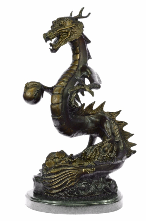 Signed Limited Edition Bronze Dragon Sculpture