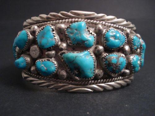 Navajo Kingman Turquoise Silver Cuff Bracelet