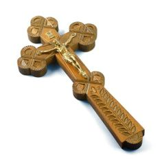 Hand-carved Ukranian Wooden Crucifix Cross