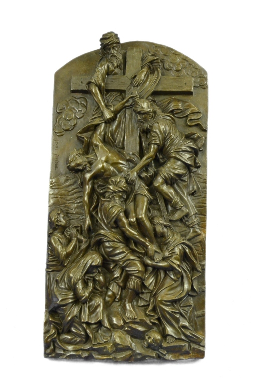 Signed Bronze Plaque, Christ Descent From Cross