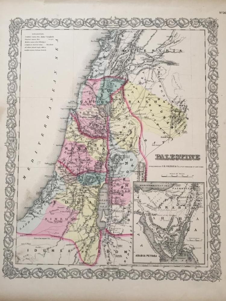 19thc Map of Palestine, Judea,Samaria, Jerusalem