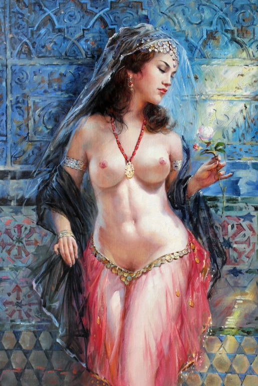Middle Eastern Nude Exotic Dancer Oil Painting