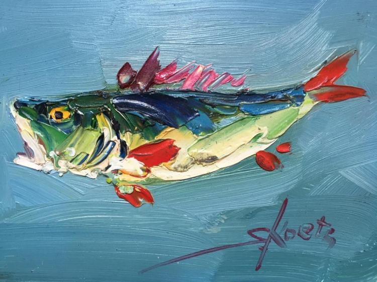 Signed Abstract Oil on Board Painting,Trout Fish