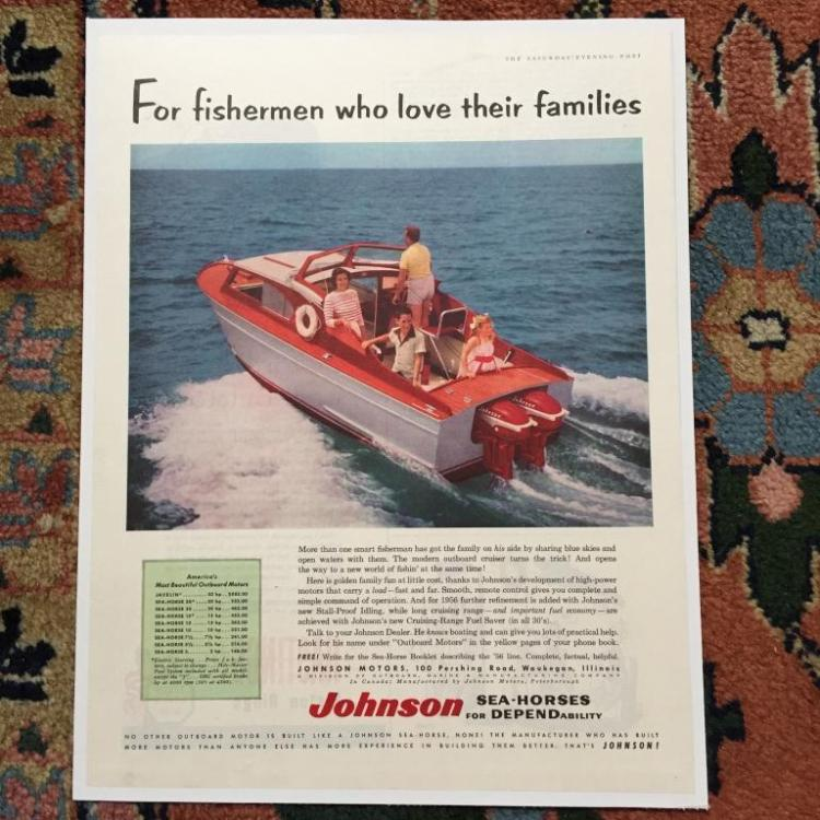 1956 Johnson Outboard Motors, Sea-Horses Ad