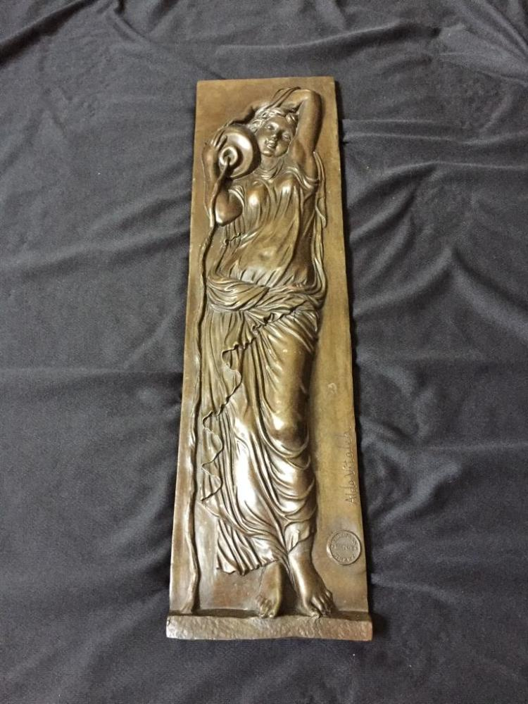 Classical Woman Bronze Wall Relief Plaque