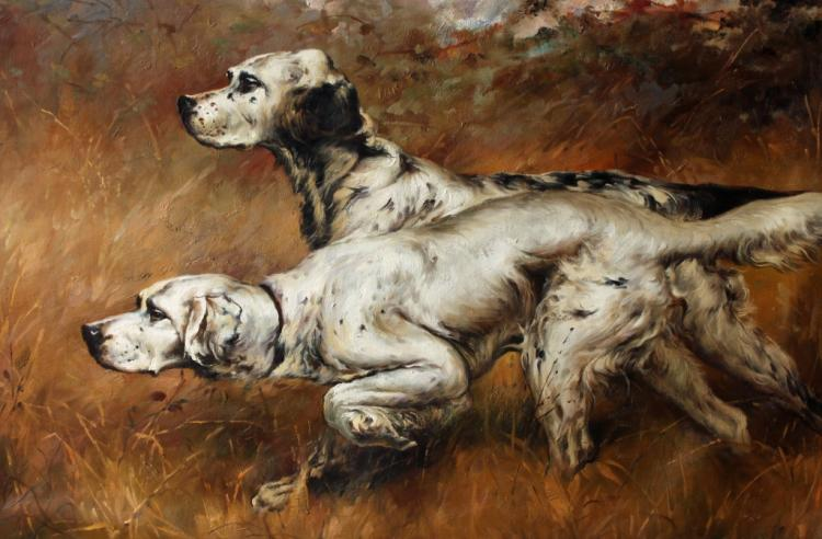 After Osthaus, Hunting Dogs Oil Painting