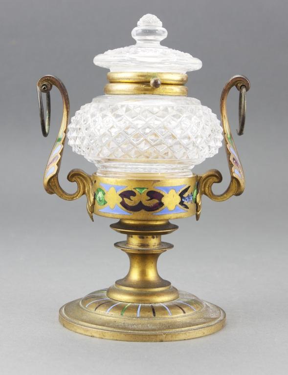 1880s Champleve Enamel Ormolu Cut Glass Inkwell